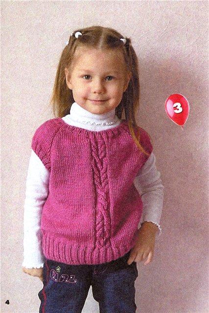 Вязание детских жилетов для девочек спицами